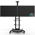 """ONKRON TS1881DV чёрная,стойка для двух телевизоров с кронштейном 40""""-65"""" мобильная"""